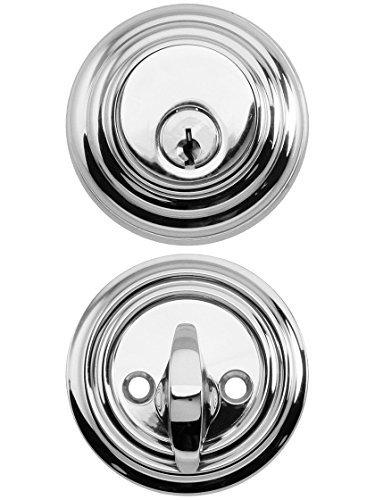 Solid Brass Single Cylinder Low Profile Deadbolt Polished Chrome With 2 3/8 Backset. Mortise Lock Parts. by Emtek -
