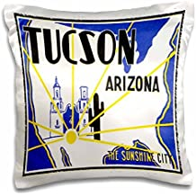 BLN Vintage Travel Posters and Luggage Tags - Tucson Arizona The Sunshine City Vintage Luggage Label - 16x16 inch Pillow Case