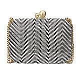 Bonjanvye Stripe Pattern Weave Clutches Crossbody Bag for Women Black