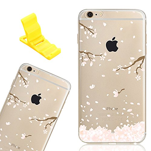 iPhone 6 Cover, SXUUXB iPhone 6S Silicone Trasparente Cristallo Chiaro Diamante Custodia, Bling Glitter Strass Ultra Sottile Soft Gel TPU Protettiva Bumper Flower Design con Modello Antigraffio Anti S Ciliegia bianca