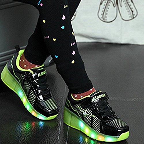 Mulheres Calçado Couro Homens Patins Tênis Brilhantes Sapatos Rolos Ar Negras De Com As Cavalinhos Desportivo Rapariga Livre Ao Piscando Rodas Para De 2 RA0qwOP