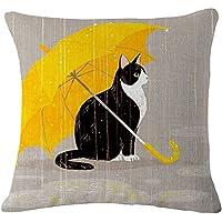 VORCOOL gato manta funda de almohada Funda para cojín de lino y algodón casa sofá decoración (gato y paraguas)