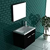 Badmöbel Set mit Waschbecken aus Mineralguss, Unterschrank und Spiegel mit Softclose-Funktion/schwarz / 50 cm Breite