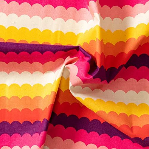 MIRABLAU DESIGN Stoffverkauf Baumwolle Canvas Wellenmuster gelb orange lila pink (4-278M), 0,5m -