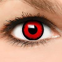 Farbige Kontaktlinsen  Volturi Vampir  in rot + Kombilösung + Behälter - Top Linsenfinder Markenqualität, 1Paar (2 Stück)