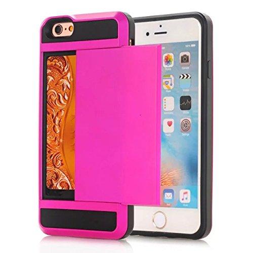 iPhone 7 hülle,Lantier [Soft TPU Stoßdämpfer+harte PC] schlagfest Dual Layer Hybrid Rüstung Wallet Schutzhülle mit Kasten Kartenhalter für Apple iPhone 7 (4.7 Zoll) 2016 Rose Gold Hot Pink