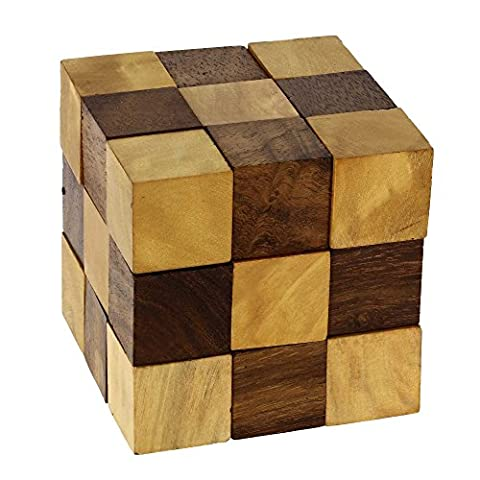 ShalinIndia Wooden Puzzle Adult Snake Cube Handmade Gifts India 6 x 6 x 6 cms Unique Gifts For Kids And Adult