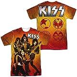 Kiss - Herren Feuer Pose (vorne / hinten Print) T-Shirt, X-Large, White