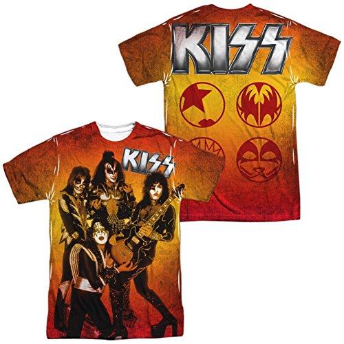 Kiss - Herren Feuer Pose (vorne / hinten Print) T-Shirt, XX-Large, White