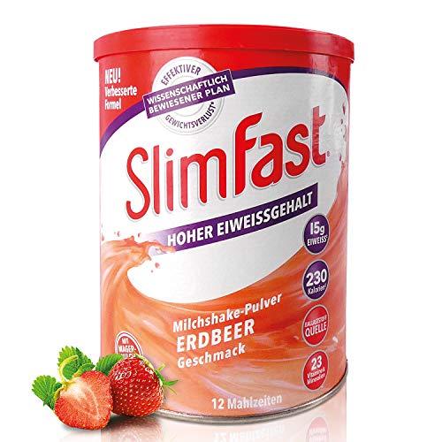 SlimFast Milchshake Pulver Erdbeere I Kalorienreduzierter Abnehm-Shake mit hohem Eiweißanteil I Diät-Pulver für eine gewichtskontrollierende Ernährung I Nur 230 Kalorien pro Protein-Shake I 438 g