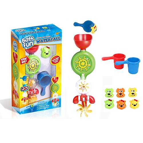 baby 1st Bath Toys for Toddlers - Water Spraying Waterfall with Cups (Wheel Green) by