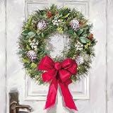 Ambiente Papierservietten - Servietten Lunch/Party / ca. 33x33cm White Wreath - Weihnachten - Kranz - Ideal als Geschenk und Tisch-Deko