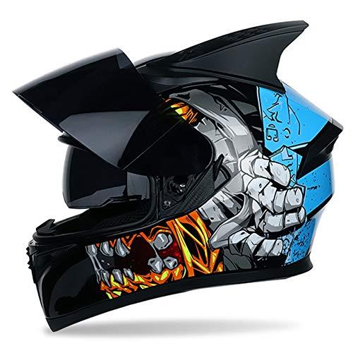 QIXING Casco Moto Integrale, Casco Graffiti Street Bike con modellazione a 2 Orecchie, Protezione Solare Doppia Visiera, Casco Adulto Unisex, Nero Blu,XXL(63cm~64cm)