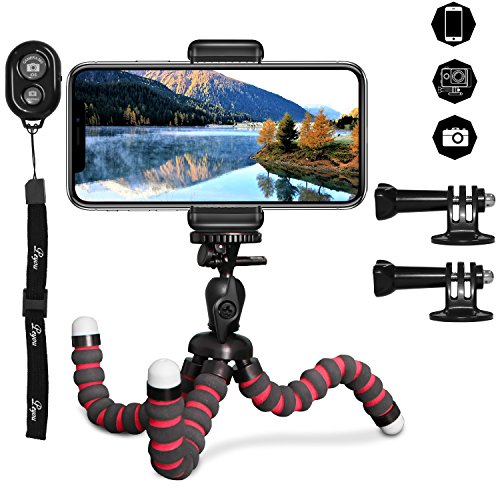,PEMOTech Handy Stativ (Verstellbarer Fuß)für 4-6 Inch Smartphone iPhone,Samsung,Android mit Bluetooth-Steuerung ()
