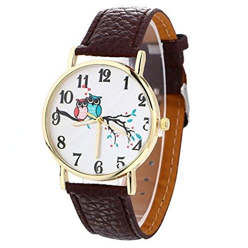 Longra☀☀2017 muy lindo de cuero de moda del modelo del búho reloj Shi Ying (marrón)