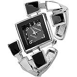 JSDDE Fashion Women's Bangle Cuff Bracelet Analog Watch, Silver Tone
