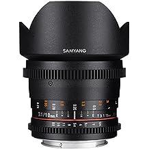 Samyang F1322501101 - Objetivo para vídeo VDSLR para Canon EF (distancia focal fija 10mm, apertura T3.1-22 ED AS NCS CS II), negro