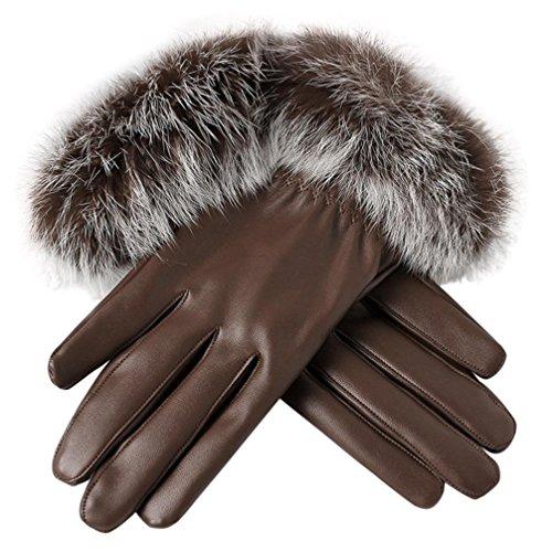 SHOBDW Damen Handschuhe, Frauen Leder Handschuhe Herbst Winter -