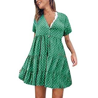 Gofodn Dresses for Women Plus Size Sexy V Neck Loose Dot Printed Short Sleeve Mini Dress Green
