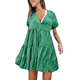 UYSDF Fashion Kleidung Damen charmant Mode V-Ausschnitt Polka Punkt Gedruckt Kurzarm Kleid