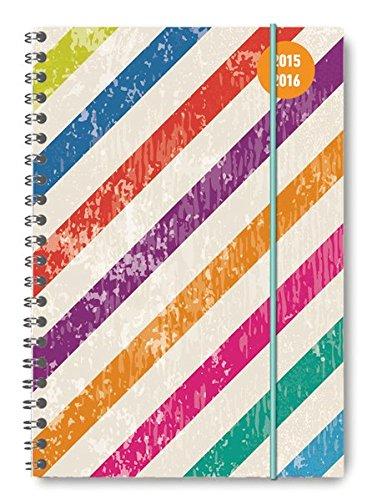 Alpha Edition 16.0700 Colour Stripes Diario Scuola Collegetimer, A5, 2015/2016 con Rilegatura a Spirale, 1 Settimana su 2 Pagine