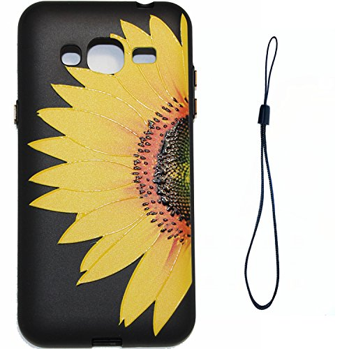 J3 Hülle ,Samsung J3 Shell Case , Galaxy J3 Black Hülle, Cozy Hut® [Liquid Crystal] [Matte Black] [With Lanyard/Strap] Samsung Galaxy J3 Ultra Slim Schutzhülle ,Anti-Scratch Shockproof und Schutz vor  Halbe Sonnenblume