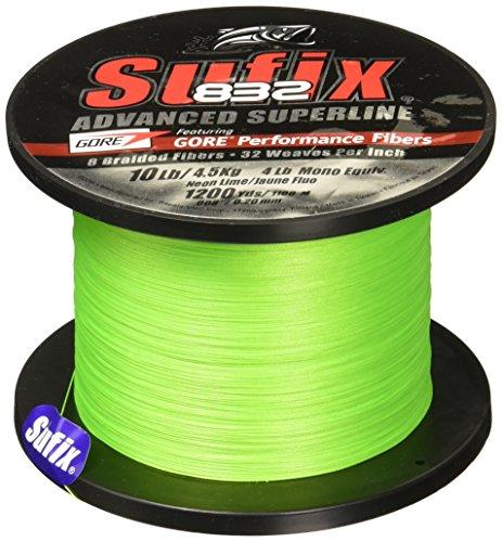 Sufix Geflechtschnur 832-1200 Meter, Neon Lime, 30-Pound
