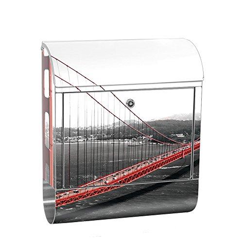 liwwing Briefkasten Edelstahl mit Motiv und Zeitungsfach, Zeitungsrolle als XXL Design Wandbriefkasten   Golden Gate Bridge Wasser USA schwarz-weiß. Rot   no. 0429 (Bridge-magazin)