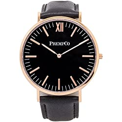 Prempco - Nobel - Men's wrist watch - Black/Rose Gold - Quick Change Watch Wrist Band in Black