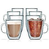 Doppelwandige Thermo-Gläser im 8er Set für Latte Macchiato, Kaffee, Tee und Cocktails (je 360ml) / Becher (Tassen) aus Borosilikatglas mit Schwebe-Effekt von Green Spirit®