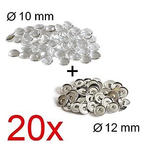 Click-Buttons DIY: Set aus Basisteil + Glas-Cabochon für Mini-Buttons (12mm), 20 Stück