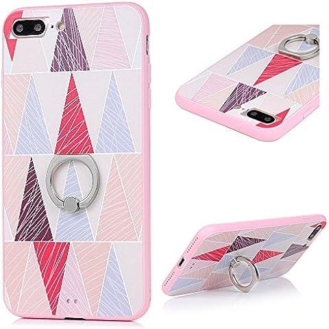 Cover per iPhone 7 Plus Custodia con Anello KASOS Case con Bordo de TPU Morbido e l'indietro de PC Duro per Fornire il Più Alto Livello di Protezione,Modello di Triangoli C