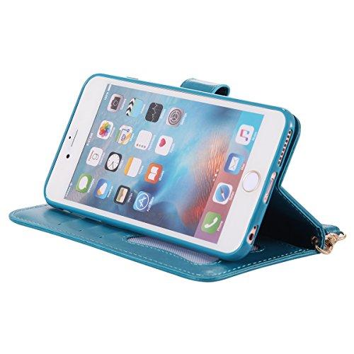 iPhone 6 Plus Coque en Cuir Folio avec Corde Strap,iPhone 6S Plus Housse Portefeuille Pu avec Magnétique Stand,JAWSEU Neuf Désign[Lumineux] Ultra Slim Retro Relief Flip en Cuir Étui de protection élég bleu