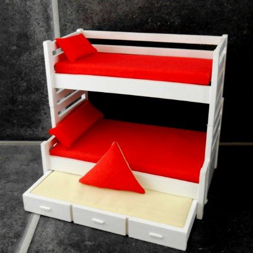 Puppenhaus weiß Etagenbett mit Trundle Bett Miniatur 1:12 Schlafzimmer Möbel