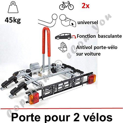 PORTE VELO SUSPENDU SUR ATTELAGE RABATTABLE POUR 2 VELOS | Porte-vélo