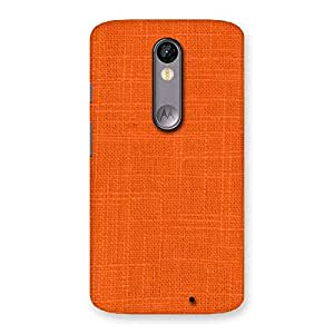 Delighted Orange Texture Squary Back Case Cover for Moto X Force