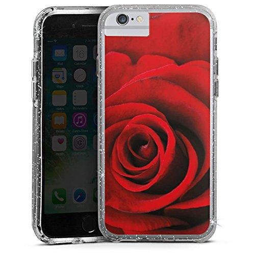 Apple iPhone 7 Bumper Hülle Bumper Case Glitzer Hülle Red Rot Rosen Bumper Case Glitzer silber