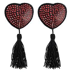 Idea Regalo - Paris Hollywood Nipple Copricapezzoli Cuore Nero Strass Rosso/Pompon Adesivo riutilizzabile