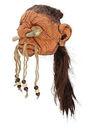 Menschen-Schrumpfkopf aus Latex LARP-Trophäe Fantasy Schädel Kopf