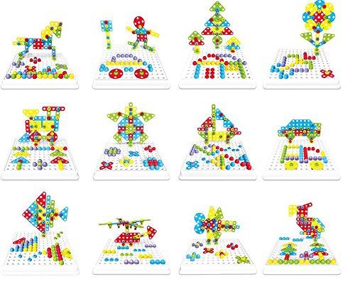 Brigamo 2404 – ⚒ Mosaik Steckspiel, 3d Puzzle Konstruktionsspielzeug Baukasten Set mit Kinderwerkzeug ⚒ - 2