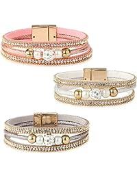 beb8fecdf087 Yadoca 3 Pcs Bracelet en Cuir pour Femme Fille Charme Fait à la Main  Bracelet Manchette