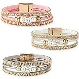 Yadoca 3 Pcs Bracelet en Cuir pour Femme Fille Charme Fait à la Main Bracelet Manchette Fermoir Magnétique Boho Bijoux