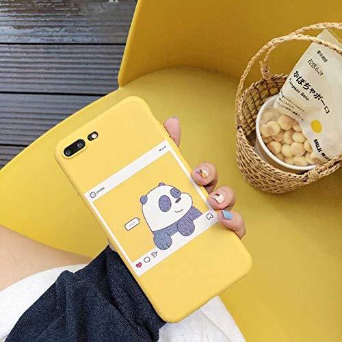 VIWIV Für iPhone Case Xs Max Cartoon Creative Yellow Panda Apple Xr Protective Cover Persönlichkeit 6 6S 7 8 Plus Mobile Shell Wear All-Inclusive Anti-Fall Kreativ,1,iPhone7plus/8plus (6 Iphone Plus Kreative Fällen)