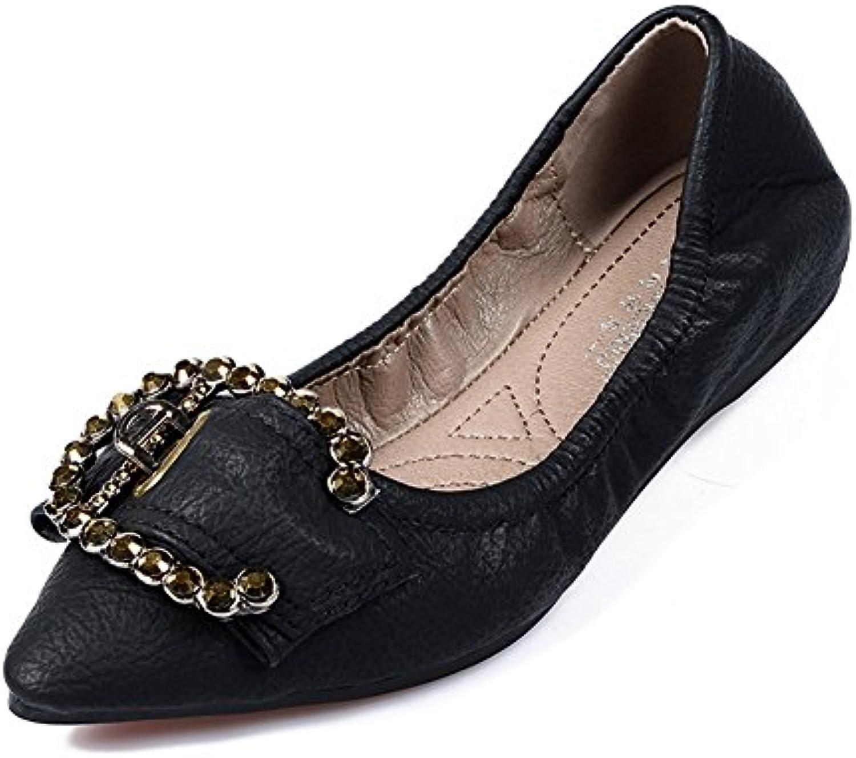 Zapatos de Mujer de Microfibra Primavera Caída Asakuchi Mocasines y Slip-Ons Punta Estrecha Tacón Plano para Casual...