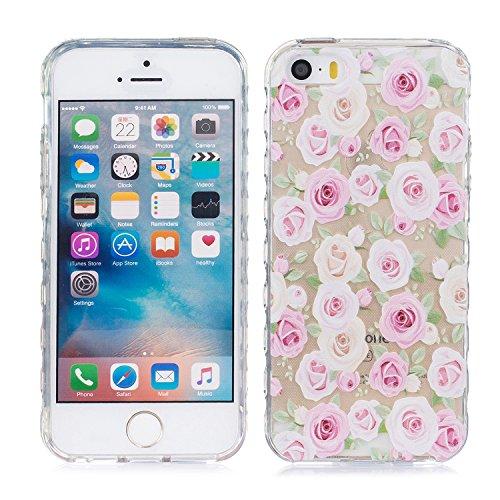 iPhone 5 Hülle, E-Lush TPU Soft Silikon Tasche Transparent Schale Clear Klar Hanytasche für Apple iPhone 5 5S SE Durchsichtig Rückschale Ultra Slim Thin Dünne Schutzhülle Weiche Flexibel Handyhülle Kr Rose