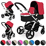 Froggy Pushchair pram Magica Baby Stroller Buggy 2in1 Travel System with carrycot and Child seat Unit Red
