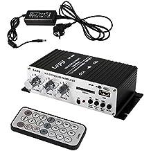 LEPY LP-A68 Amplificador Audio Mini Hi- Fi Amplificador Estereo 15W Amplificador para CD IPOD MP3 MP4 MD + Fuente de Alimentacion de CA Adaptador de Cargador DC 12V 5A