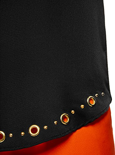 oodji Collection Damen Gerades Langarmshirt mit Metall-DEKO Schwarz (2997P)
