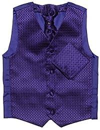 Conjunto Paisley of London de chaleco, corbata y pañuelo morado niños, chalecos de diamantes, 3m a 14años