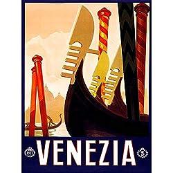 Wee Blue Coo Travel Tourism Venice Italy Gondola Canal Vintage Advertising Art Print Poster Wall Decor 12X16 inch Viaggio Turismo Venezia Italia Canale Vintage ▾ pubblicità Manifesto Parete